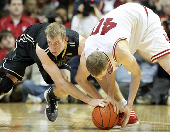 Purdue's Robbie Hummel and IU's Cody Zeller battle for the rock.