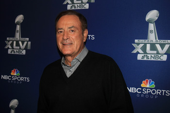INDIANAPOLIS, IN - JANUARY 31:  NBC Play-by-play commentator Al Michaels looks on during the Super Bowl XLVI Broadcasters Press Conference at the Super Bowl XLVI Media Canter in the J.W. Marriott Indianapolis on January 31, 2012 in Indianapolis, Indiana.