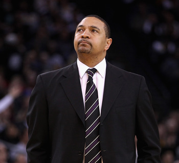 OAKLAND, CA - FEBRUARY 20:  Golden State Warriors heach coach Mark Jackson stands on the side of the court during their game against the Los Angeles Clippers at Oracle Arena on February 20, 2012 in Oakland, California.  NOTE TO USER: User expressly acknow