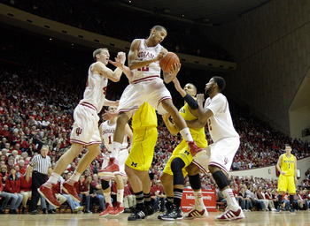 Verdell Jones gets some air against Michigan.
