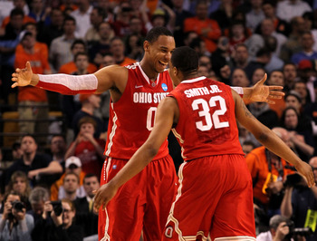 Jared Sullinger and Lenzelle Smith Jr celebrate Ohio State's win over Syracuse.