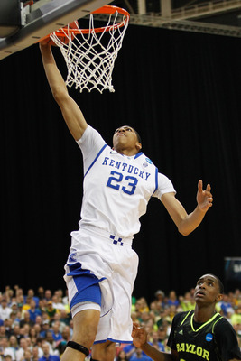 ATLANTA, GA - MARCH 25:  Anthony Davis #23 of the Kentucky Wildcats shoots against the Baylor Bears in the first half during the 2012 NCAA Men's Basketball South Regional Final at the Georgia Dome on March 25, 2012 in Atlanta, Georgia.  (Photo by Streeter