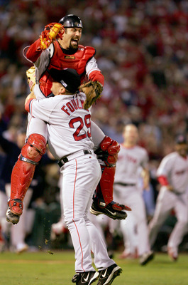 Keith Foulke celebrates the last out of the 2004 World Series.