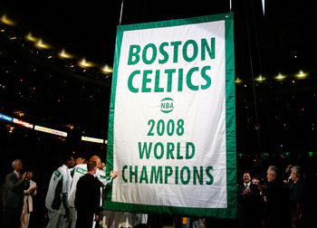 The Celtics hanging their most recent championship banner.