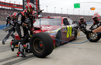 Jeff Gordon's luck on pit road was not good at Fontana