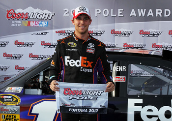 Hamlin had a lot to smile about at Fontana, especially his Pole run