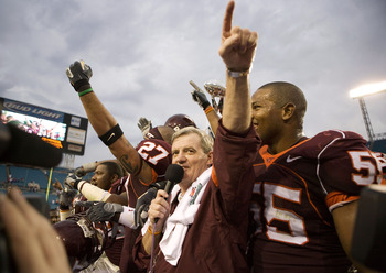 JACKSONVILLE, FL - JANUARY 2:  Head Coach Frank Beamer of the Virginia Tech Hokies addresses the crowd after defeating the Louisville Cardinals during the Toyota Gator Bowl on January 2, 2006 at Alltel Stadium in Jacksonville, Florida. The Hokies defeated