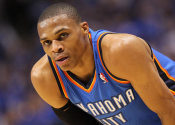 Looking elsewhere? Russell Westbrook at times has appeared less content than his co-star in Oklahoma City.