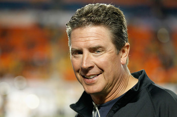 MIAMI GARDENS, FL - JANUARY 04:  Former Miami Dolphins quarterback Dan Marino stands on the sidelines prior to the Clemson Tigers playing against the West Virginia Mountaineers during the Discover Orange Bowl at Sun Life Stadium on January 4, 2012 in Miam