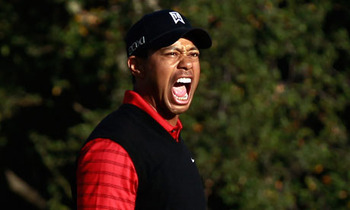 Woods in full-flow after sinking another putt