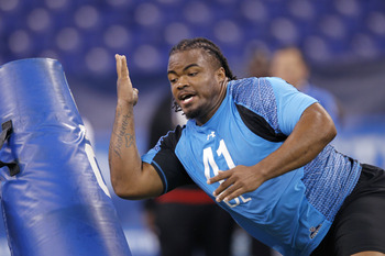 Dontari Poe doing work at the NFL combine