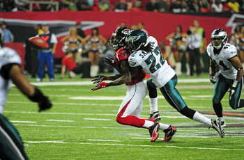 Asante commits a pass interference penalty against Atlanta's Julio Jones.