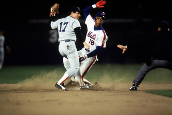 Barrett applies the tag too late in the 1986 World Series
