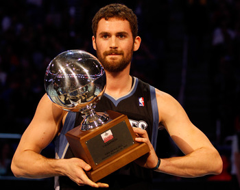 Kevin Love winning Foot Locker's Three-Point Competition at the 2012 All-Star Weekend.