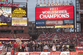 The Cardinals won the franchise's NL leading 11th World Series last season.