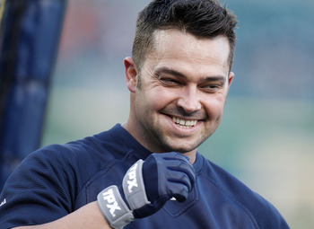 DETROIT, MI - OCTOBER 04: Nick Swisher #33 of the New York Yankees smiles during batting practice prior to playing the Detroit Tigers in game four of the American League Division Series at Comerica Park on October 4,  2011 in Detroit, Michigan. (Photo by