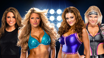 Maria Menounos, Kelly Kelly, Eve Torres, &amp; Beth Phoenix (Photo by WWE.com)