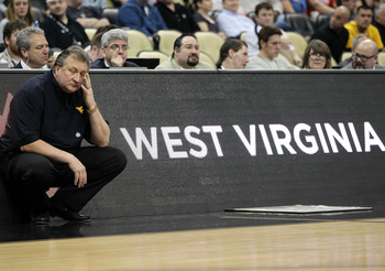 PITTSBURGH, PA - MARCH 15:  Head coach Bob Huggins of the West Virginia Mountaineers reacts against the Gonzaga Bulldogs during the second round of the 2012 NCAA Men's Basketball Tournament at Consol Energy Center on March 15, 2012 in Pittsburgh, Pennsylv