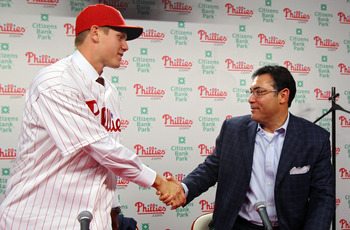 Papelbon with Phillies GM Ruben Amaro Jr. at his first press conference.