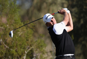 SCOTTSDALE, AZ - FEBRUARY 05:  Bo Van Pelt hits a tee shot on the second hole during the final round of the Waste Management Phoenix Open at TPC Scottsdale on February 5, 2012 in Scottsdale, Arizona.  (Photo by Christian Petersen/Getty Images)
