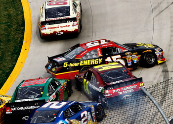 Clint Bowyer wrecked while racing for the lead late at Martinsville