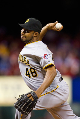 ST. LOUIS, MO - APRIL 4: Reliever Jose Veras #48 of the Pittsburgh Pirates pitches against the St. Louis Cardinals at Busch Stadium on April 4, 2011 in St. Louis, Missouri.  (Photo by Dilip Vishwanat/Getty Images)