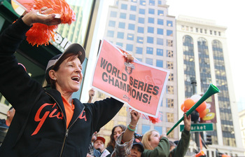 Giants fans celebrate their World Series championship.