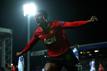 BLACKBURN, ENGLAND - APRIL 02:  Antonio Valencia of Manchester United celebrates scoring the opening goal during the Barclays Premier League match between Blackburn Rovers and Manchester United at Ewood Park on April 2, 2012 in Blackburn, England. (Photo 