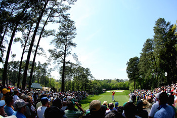 A panorama of the long, downhill Par-3 4th Hole at Augusta National