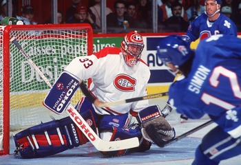 Goaltender Patrick Roy in action in 1994.