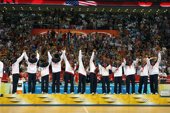 The Redeem Team had a golden glow upon accepting its medals in Beijing.
