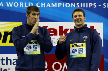 Ryan Lochte (right) has been all smiles since Beijing.