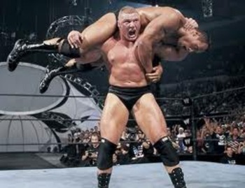 Brock Lesnar delivers an F5 to The Rock.