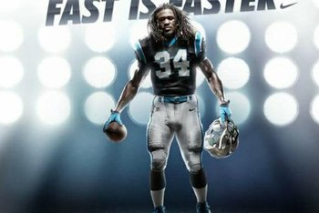 DeAngelo Williams (34) in the new Panthers uniform designed by Nike.
