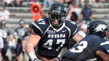 Brett Roy (47) was an All-American at Nevada. Picture courtesy of nevadawolfpack.com.
