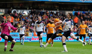 WOLVERHAMPTON, ENGLAND - MARCH 31:  Matt Jarvis of Wolves heads on goal during the Barclays Premier League match between Wolverhapton Wanders and Bolton Wanderers at Molineux on March 31, 2012 in Wolverhampton, England.  (Photo by Jamie McDonald/Getty Ima