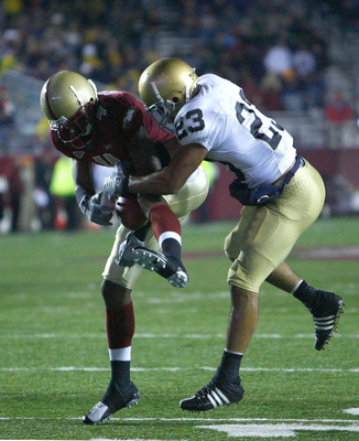 Fletcher (left) in a game vs. Notre Dame