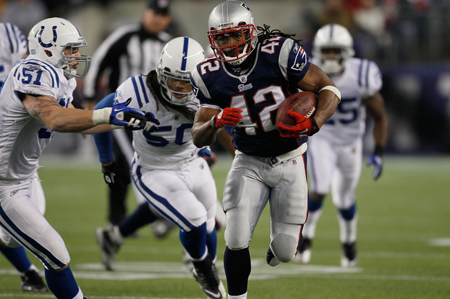 FOXBORO, MA - NOVEMBER 21:  BenJarvus Green-Ellis #42 of the New England Patriots gains yards against the defense Pat Angerer #51 and Philip Wheeler #50 of the Indianapolis Colts in the second half at Gillette Stadium on November 21, 2010 in Foxboro, Mass