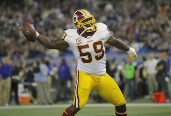 TORONTO, ON - OCTOBER 30: London Fletcher #59 of the Washington Redskins celebrates after interceping a pass in the end zone during NFL game action against the Buffalo Bills at Rogers Centre on October 30, 2011 in Toronto, Ontario, Canada. (Photo by Tom S