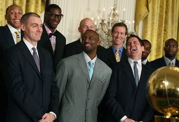 Carlisle with his team and owner Mark Cuban at the White House after winning the title.
