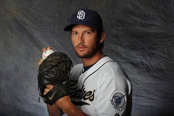 PEORIA, AZ - FEBRUARY 27:  Huston Street #16 of the San Diego Padres poses for a portrait during a photo day at Peoria Stadium on February 27, 2012 in Peoria, Arizona. (Photo by Rich Pilling/Getty Images)