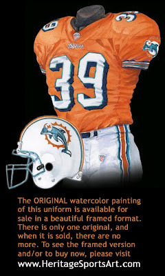 The Dolphins decided to try these orange uniforms. Photo courtesy of http://blog.heritagesportsart.com/2010/08/miami-dolphins-uniform-and-team-history.html