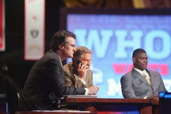 Mel Kiper on the set of the NFL Draft with Chris Mortensen and Keyshawn Johnson