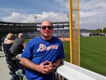 Bleacher Report's Jimmy Grappone taking in a Spring Training game between the Atlanta Braves and New York Yankees in Tampa, Fla.