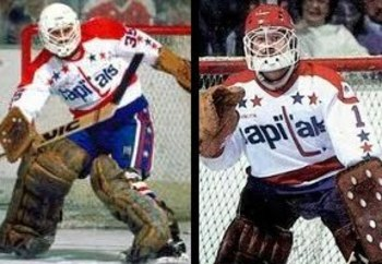 Al Jensen (left) and Pat Riggin made up a very good goalie tandem in the '80s.