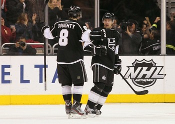 Drew Doughty celebrates after a goal during a recent home game