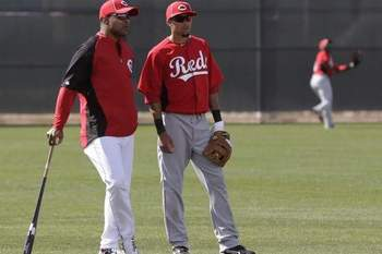 Billy Hamilton with Hall of Famer Barry Larkin