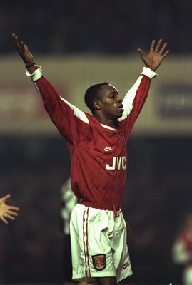 11 Jan 1996:  Ian Wright of Arsenal raises his arms aloft during the Coca Cola Cup quarter-final against Newcastle at Highbury Stadium in London. Arsenal won the match 2-0. \ Mandatory Credit: Shaun  Botterill/Allsport