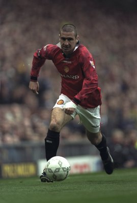 5 Apr 1997:  Eric Cantona of Manchester United in action during the Premier League match against Derby County at Old Trafford, Manchester. Derby won 3-2. \ Mandatory Credit: Shaun Botterill /Allsport