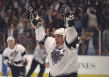 Gretzky celebrates after Game 6 game-winner in OT.